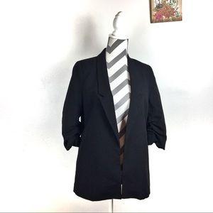 UO Silence + Noise black blazer gathered sleeves